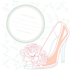 high heels shoes retro style post card