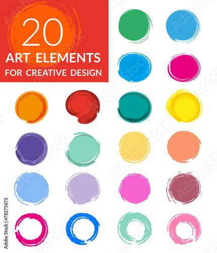 Poster Vormen Circle paint drops set