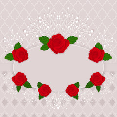 Vintage vector frame decorated with red roses.