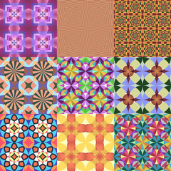 Set of 9 seamless colorful geometric vector patterns.