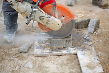 cutting concrete tile work tool.road construction