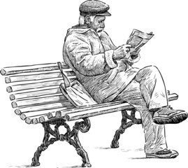 senior reading a newspaper