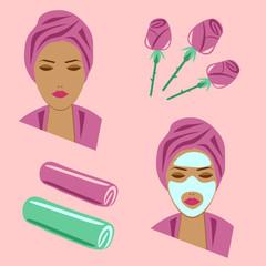 Set facial care, rose
