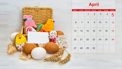 Easter cookie chicken, bunny, little ram in a basket and chicken