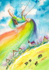 Spring with rainbow hair swinging above village.