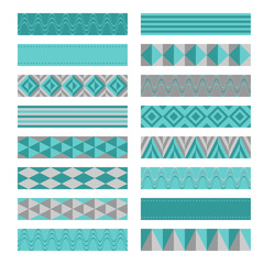 Blue gray ribbons. Washi tapes set.