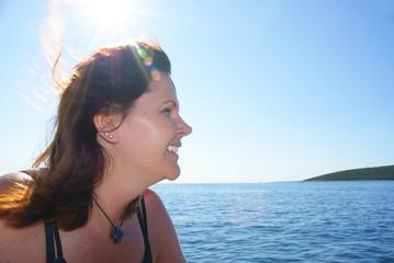 Eine Frau auf dem Boot