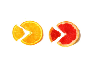 slices of grapefruit and orange