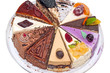 Ten different pieces of cake on a plate