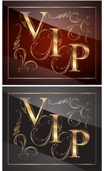 Decors with gold captions VIP