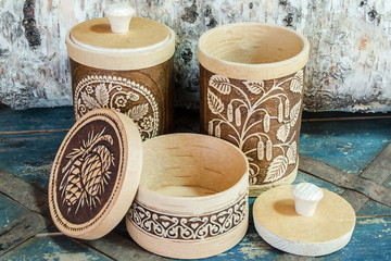 Russian traditional national products from birch bark