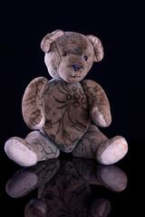 Antiker Teddy auf spiegelndem, schwarzen Untergrund