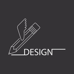 Pencil with wings, logo design