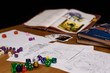 role playing game set up on table isolated on black background - 78280056