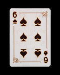 Spielkarten - Poker - Kreuz Sechs im Spiel