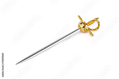 Leinwanddruck Bild Golden sword