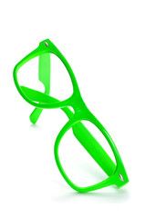 bright green eyeglasses