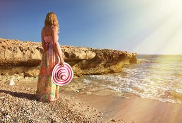 Girl on the beach. Cyprus