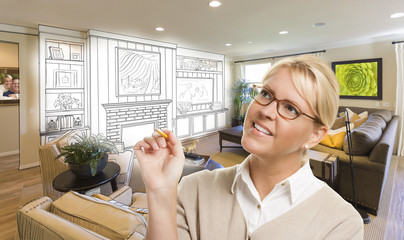 Woman with Pencil Over Custom Room and Design Drawing
