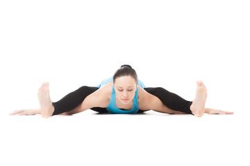 Yogi female in yoga asana Tortoise Pose