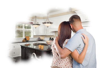 Daydreaming Young Military Couple Over Custom Kitchen Photo Thou
