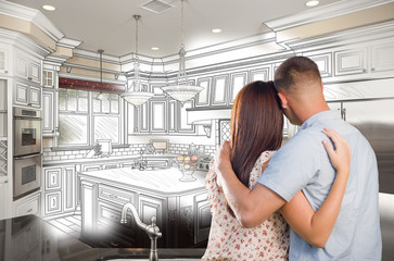 Young Military Couple Inside Custom Kitchen and Design Drawing C