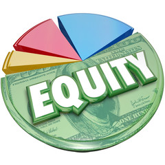 Equity 3d Word Pie Chart Stocks Equities Loan Balance Investment
