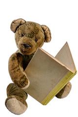 Antiker Teddy liest in einem alten Buch