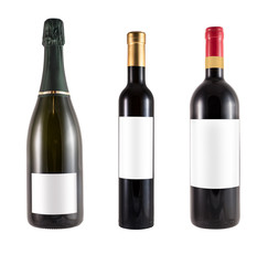 three bottles of red wine made of green glass and blank label