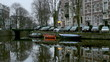 Early morning winter view of Amsterdam canals