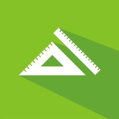 Icono regla y escuadra verde sombra