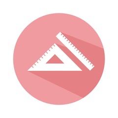 Icono regla y escuadra rosa botón sombra