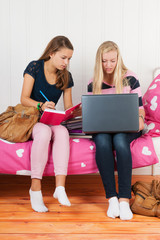 Two teen girls making homework together