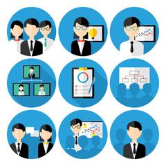 Business men concepts icon set