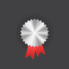 Badge with ribbons icon, vector illustration, silver design