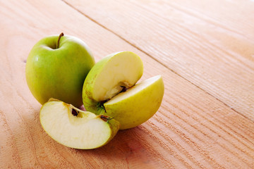 Fresh green apples isolated.