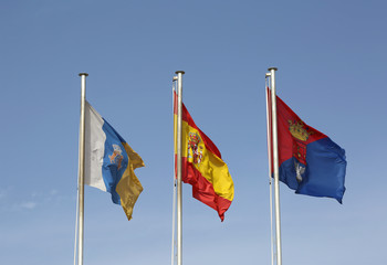 Flags flying in the air in Arrecife,Lanzarote