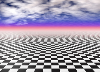 Checkered floor tiles, black and white