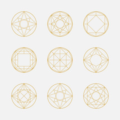Set of geometric shapes, squares and circles, line design