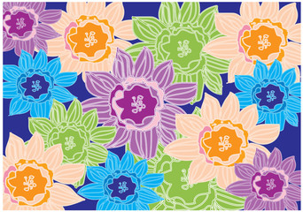 decorative colorful background with colorful flowers on