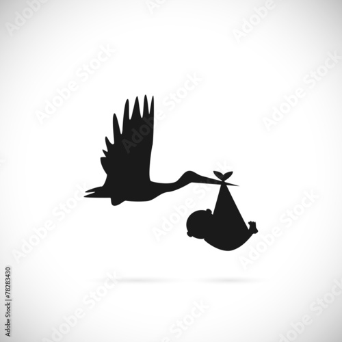 Stork and Baby Illustration - 78283430