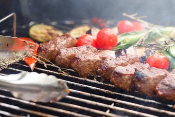 grilled kebab and vegetables