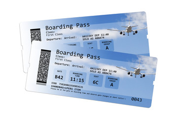 Airline boarding pass tickets isolated on white