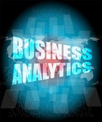 business analytics digital touch screen interface