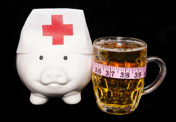 beer with tape measure nurse piggy bank
