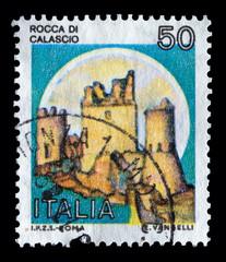 """Italy Castles stamp: """"Rocca di Calascio"""" in Abruzzo"""