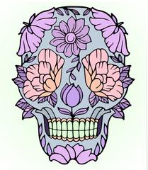 teschio fiori tatuaggio