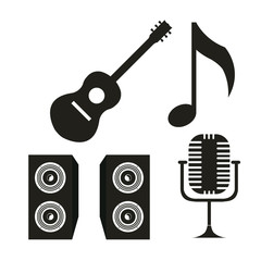 guitar, baffles and microphone over white color background