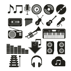 icons music set in black color over white color background