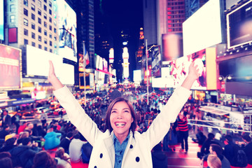 Happy fun woman in New York, Times Square